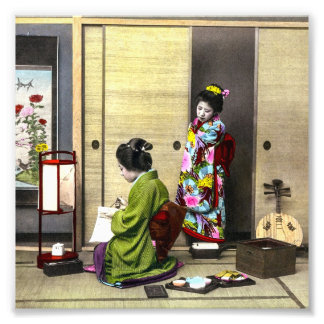 Geisha and her Meiko in Old Japan Vintage Art Photo