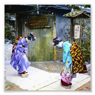 Geisha Greetings at the Gate Vintage Old Japan Photo Art