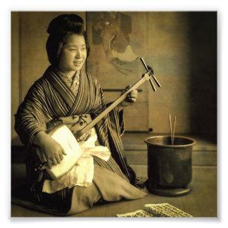 Geisha Practicing the Shamisen Vintage Old Japan Photograph