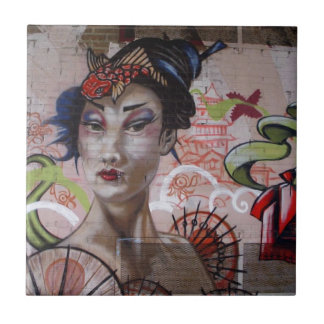 Geisha Urban Graffiti Street Art Ceramic Tiles