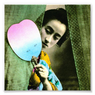 Geisha with a Paper Fan Vintage Old Japan Photo Art