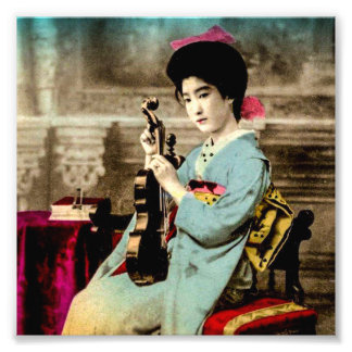 Geisha with a Violin Vintage Old Japan Musician Photo Art