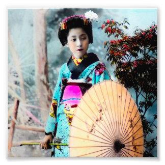 Geisha with a Wagasa Paper Parasol Vintage Japan Photo