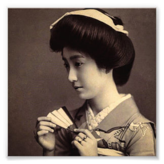 Geisha with Folding Paper Fan In Old Japan Art Photo