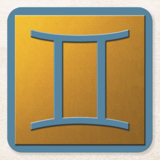 Gemini - Light Blue and Gold Square Paper Coaster