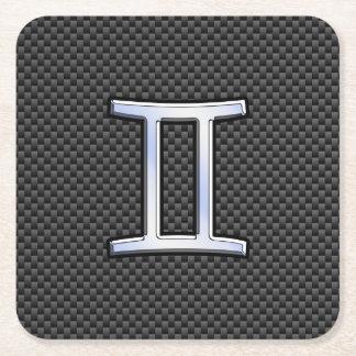 Gemini Zodiac Sign on Charcoal Carbon Fiber Print Square Paper Coaster