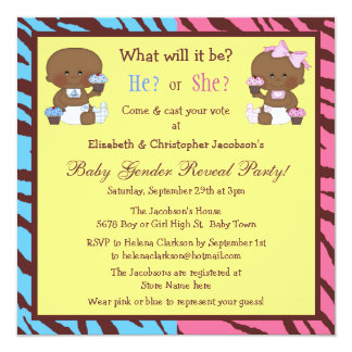 Gender Reveal African American Babies & Cupcakes 13 Cm X 13 Cm Square Invitation Card