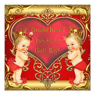 Gender Reveal Baby Shower Boy Girl Red Blonde 13 Cm X 13 Cm Square Invitation Card