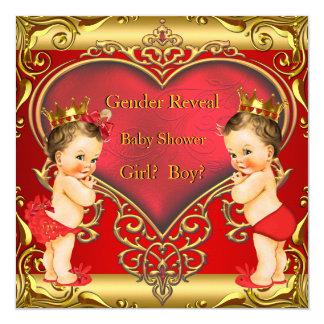 Gender Reveal Baby Shower Boy Girl Red Brunette 13 Cm X 13 Cm Square Invitation Card