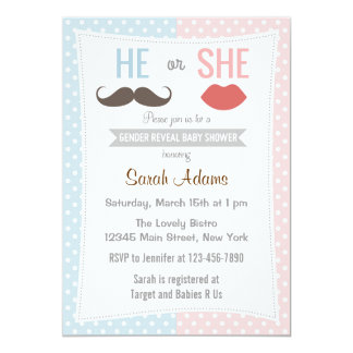 Gender Reveal Baby Shower Invitation Blue Pink
