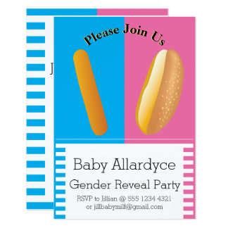 Gender Reveal Dancing Hot Dog and Bun Baby Shower Card