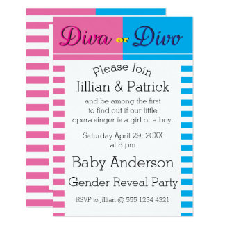 Gender Reveal Diva or Divo  Baby Shower Card