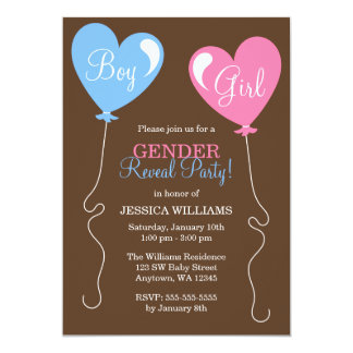 Gender Reveal Heart Balloons Pink and Blue 13 Cm X 18 Cm Invitation Card