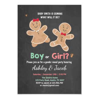 Gender reveal invitation Gingerbread He or She