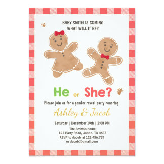 Gender reveal invitation Gingerbread He or She Red