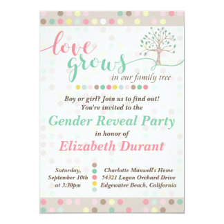 Gender Reveal Love Grows In Our Family Tree Pastel 13 Cm X 18 Cm Invitation Card