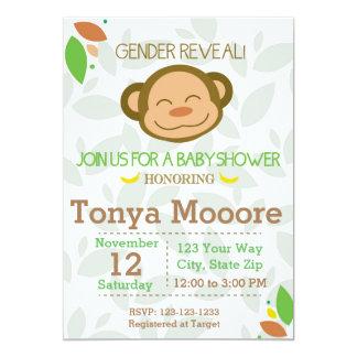 Gender Reveal Monkey Baby Shower Invitation