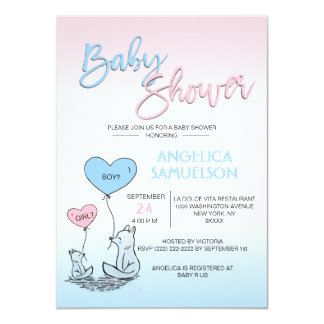 Gender Reveal Neutral FOX Pink Blue Baby Shower Card