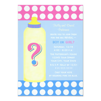 Gender Reveal Party Invitations -- Baby Bottle Personalized Announcements