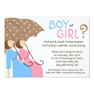 Gender Reveal Party Invitations Blue & Pink
