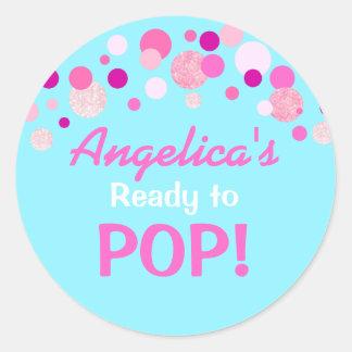 Gender Reveal Ready to Pop Pink Blue Baby Shower Classic Round Sticker