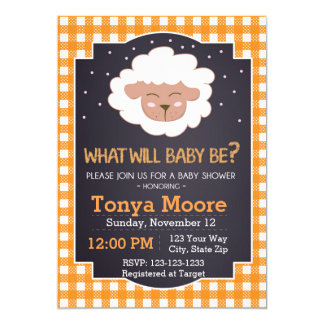 Gender Reveal Sheep Baby Shower Invitation