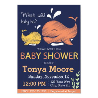 Gender Reveal Whale Baby Shower Invitation