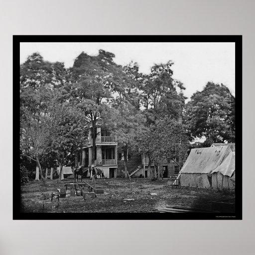 General Beauregard's Court House Headquarters 1862 Poster