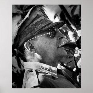 General Douglas MacArthur with Corncob Pipe Print