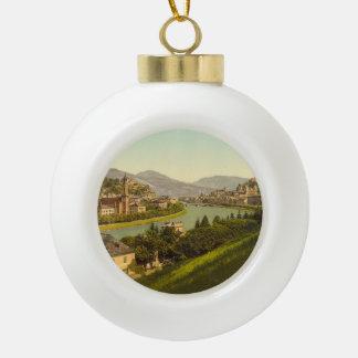 General View of Salzburg, Austria Ceramic Ball Decoration