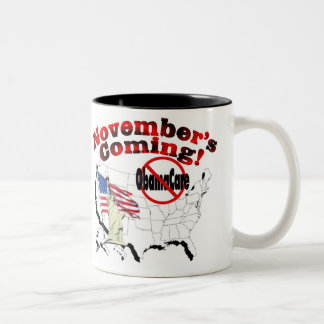 Generic Anti ObamaCare – November's Coming! Two-Tone Coffee Mug