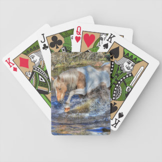 Gentle Palomino Pinto Stallion Playing in Pond Bicycle Playing Cards