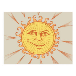 Gentle Sun with Face Illustration Postcards