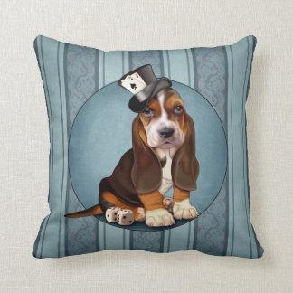 Gentleman Basset Hound Puppy Throw Pillow