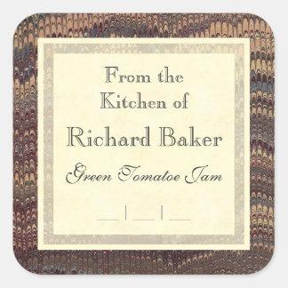 Gentleman Chef's Elegant Marble Canning Labels Square Sticker