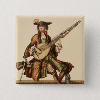 Gentleman Playing the Angelica, fashion plate, c.1 15 Cm Square Badge