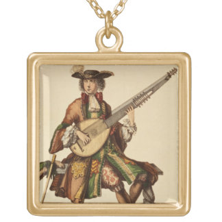 Gentleman Playing the Angelica, fashion plate, c.1 Gold Plated Necklace