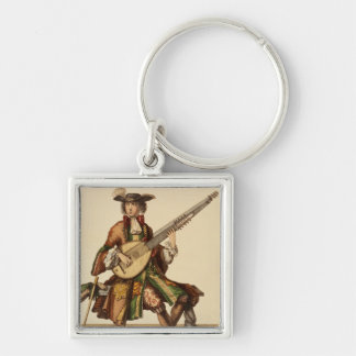 Gentleman Playing the Angelica, fashion plate, c.1 Key Ring