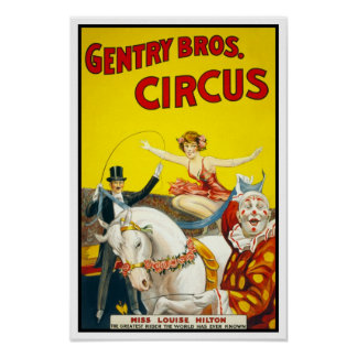 Gentry Bros. Circus, 1920. Vintage Advertising Poster