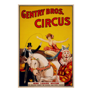 Gentry Bros. Circus Poster ft. Miss Louise Hilton