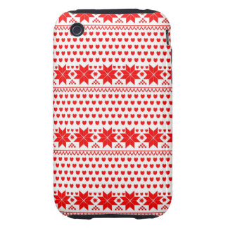 GEO-RD-1 Red and white Christmas stars iPhone 3 Tough Case