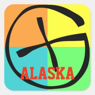 Geocache Alaska Red Square Sticker