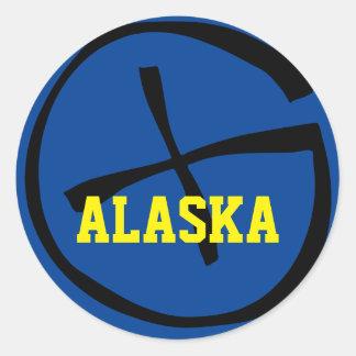 Geocache Alaska Yellow/Blue Classic Round Sticker