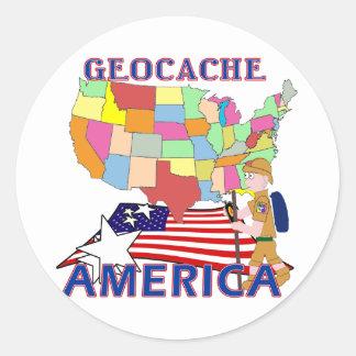 GEOCACHE AMERICA STATES ROUND STICKER