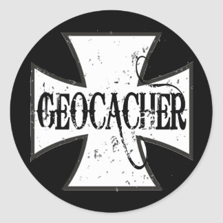 Geocacher Iron Cross Stickers