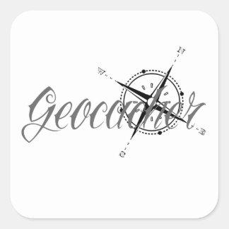 Geocacher with Compass Square Sticker