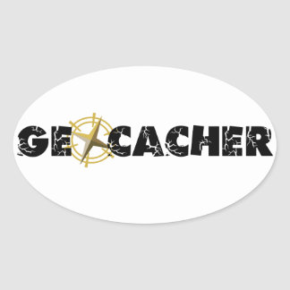 Geocacher with Compass Oval Stickers