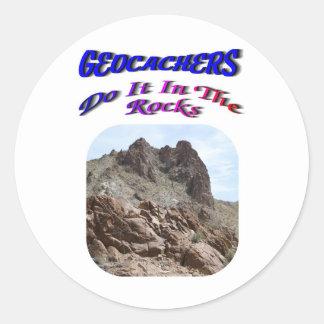 Geocacher's Do It In The Rocks Classic Round Sticker