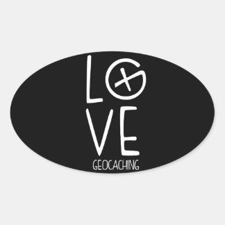 Geocaching Love Oval Sticker