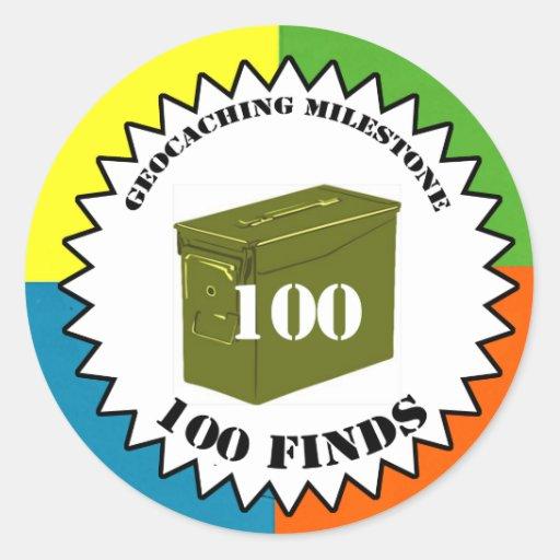 Geocaching Milestone Sticker -- 100 Finds